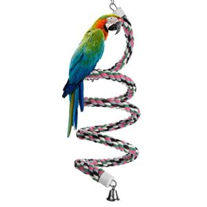 Bird Spiral Rope Perch, Cotton Parrot Swing Climbing Standing Toys with Bell